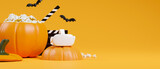 Fototapeta Kawa jest smaczna - Halloween movie party concept, virtual reality headset, pumpkin popcorn bucket, orange background