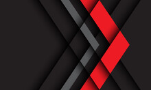 Abstract Red Grey Arrow Direction On Dark Design Modern Futuristic Technology Background Vector Illustration.