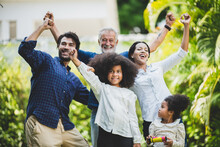 Big Family Group With Children And Parent Many Generation Meeting At Home. Mother Father And Senior Grandfather Having Relax And Happy Together With Daughter Kid