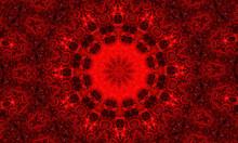 Vivid Blood Red Fractal Kaleidoscope, Digital Artwork For Creative Graphic Design