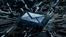 Email Technology Concept With Envelope Symbol On A Microchip. Data Flows From The CPU Across A Futuristic Motherboard. 3D Render.