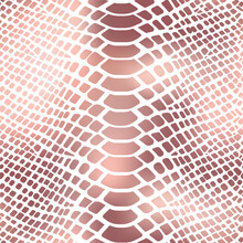 Trendy Snake Skin Rose Gold Vector Seamless Pattern. Metallic Wild Animal Reptile Skin, Shiny Foil Pink Gradient Repeat Texture On White Background For Fashion Print, Wrapping Paper, Wallpaper