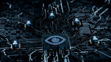 Vision Technology Concept With Eye Symbol On A Microchip. White Neon Data Flows Between Users And The CPU Across A Futuristic Motherboard. 3D Render.