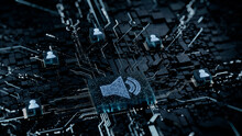 Sound Technology Concept With Audio Symbol On A Microchip. White Neon Data Flows Between Users And The CPU Across A Futuristic Motherboard. 3D Render.