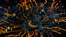 Night Mode Technology Concept With Moon Symbol On A Microchip. Orange Neon Data Flows Between Users And The CPU Across A Futuristic Motherboard. 3D Render.