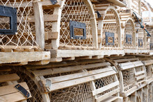 Wooden Vintage Lobster Pots Used On The Canadian Coast On Prince Edward Island