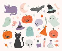 Set Of Cute Halloween Illustrations Including Ghosts, Cats, Bats, Pumpkins, Candy. Fun Halloween Elements