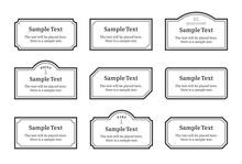 シンプルなフレーム、枠、見出し、ポイント、ラベルのイラストセット(モノクロバージョン)
