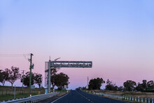 Truck Average Speed Cameras Over Road At Dusk