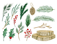 Watercolor Illustration Christmas Set With Fir, Branches, Berries, Cone, Wood, Holly. Isolated On White Background. Hand Drawn Clipart. Perfect For Card, Postcard, Tags, Invitation, Printing, Wrapping