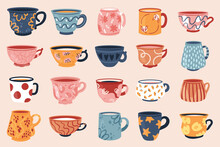 Tea Coffee Vintage Cup Set Vector Illustration. Cartoon Vintage Teacup Collection For English Afternoon Tea Ceremony Party Or Breakfast, Retro Flower, Leaf, Stripes Hand Drawn Pattern On Cup And Mug