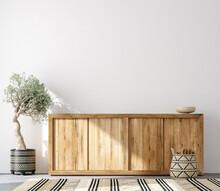 Minimalist Home Interior Background ,Mid Century Modern Style, 3d Render