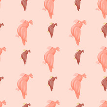 Zoo Bird Seamless Pattern With Tropical Parrots Shapes. Pastel Pink Tones. Decoratice Animal Artwork.