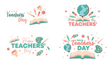 Happy Teachers' Day Illustration Vector With Soft Color Flat Icon