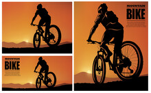 The Silhouette Of A Mountain Bike Rider In The Evening