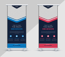 Corporate Roll Up Banner Template, Business Roll Up Banner Design, Company Advertising Banner, Blue, Red Color, Vector Illustration