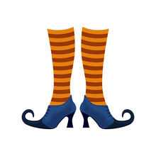 Witch Boots Of Lilac Color With Pointed Noses In Striped Orange Socks. The Witch S Shoes, A Symbol Of Halloween. Vector Illustration Isolated On A White Background