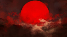 The Red Sun Is Shrouded In Clouds During Sunset. Indicates The End Of The Day. Sunset And Sunrise Concept. 2D Illustration