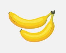 Two Bananas. Vector Trending Flat Illustration. A Bunch Of Bananas On A Gray Background.