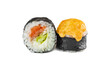 japanese baked sushi rolls with salmon on a white background