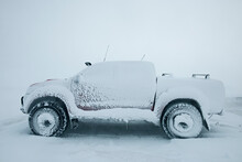 Picture Of A Customised And Snowed In Truck In North Iceland