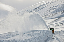 Snow Plough Clearing A Mountain Pass In North Iceland