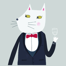 Cheers Tuxedo Kitty Cat With Champagne Funny Art Rolled Vector Design Illustration Print Wall Art Poster Canvas