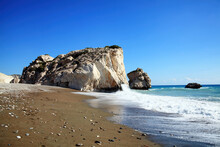 Rock Of  Aphrodite (Petra Tou Romiou) The Birthplace Of Aphrodite The Greek Goddess Of Love, On A Shoreline Beach Of  Western Cyprus Between Paphos And Limassol, Facing The Mediterranean Sea