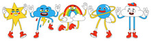Funny Characters In Trendy Retro Cartoon Style. Vector Illustration Of Star, Planet, Rainbow And Cloud.