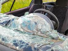 Closeup Shot Of A Car With A Broken Front Window