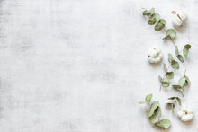 Eucalyptus Leaves And Cotton Flowers Pattern, Flat Lay
