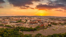 Aerial Sunset View Of Scranton Pennsylvania, Steamtown Or Electric City Home To The Legendary Office With Dramatic Colorful Sky