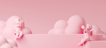 Minimal Mock Up Product Background For Love And Valentine Concept. Angel With The Trumpet On Pink Step Podium. 3d Render Illustration. Clipping Path Of Each Element Included.