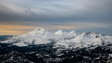 Three Sisters Mountains In The Oregon Cascades From A Helicopter