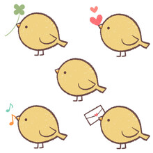黄色の小鳥のセット