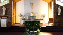 Shot Of Religious Christian Or Catholic Chapel And Altar For Worshippers