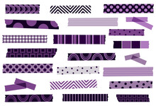 Plum, Purple, Lavender And Violet Washi Tape Collection. Set Of Semi-transparent Masking Tape Or Adhesive Strips. Vector Design Elements. Clip-art.