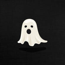 Cute White Ghost Element On A Black Background Vector