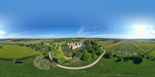 Robertsbridge, England, United Kingdom - June 2, 2021: Spherical Panorama Of Bodiam Castle Area In High Weald AONB.
