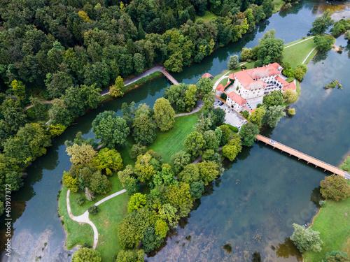 Fairy Tale Otocec Castle Grad on Krka River in Slovenia. Drone View