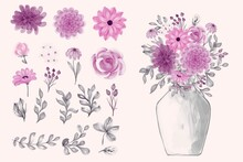 Bouquet Of Flowers Background Illustrations