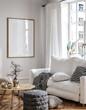Leinwandbild Motiv Frame mockup in Scandinavian living room interior, 3d render