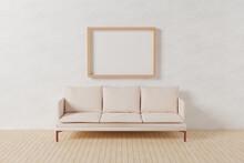木で作られた縦向きのA4、A3サイズの額縁。部屋に置かれた3人掛けの白いソファー。白い壁。フローリング。3Dレンダリング。イラスト。