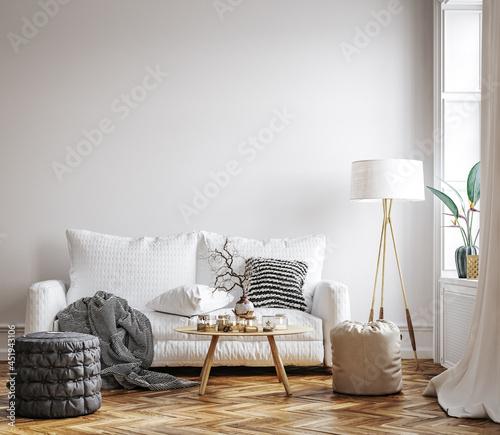Scandinavian living room interior, wall mockup, 3d render