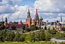 View Of The Moscow Kremlin And St. Basil's Cathedral From Zaryadye Park
