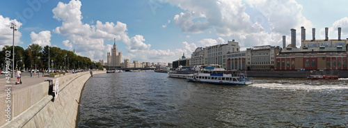 panorama of the high-rise building on Kotelnicheskaya embankment from ZaryadyePark in Moscow.