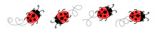 Set Of Cartoon Ladybird Mascot. A Small Ladybugs Flying On A Dotted Route. Vector Characters. Incest Icon. Template Design For Invitation, Cards. Doodle Style