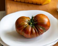 Tomato On A White Plate, Unhealthy, Cracked Tomato, Autumn Harvest