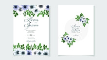 Beautiful Floral Wreath Wedding Invitation Card Template Vector With Premium Flowers, Leaves, Branches Save The Date, RSVP And Thank You Cards, Cover Design Greeting