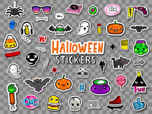 Vector Set Of Halloween Teens Stickers And Patches In Doodle Style.